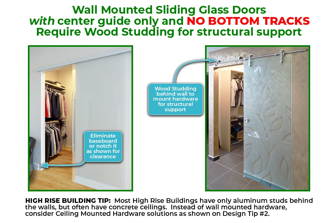 Wall Mounted Sliding Doors With No Bottom Tracks Must Be Studded