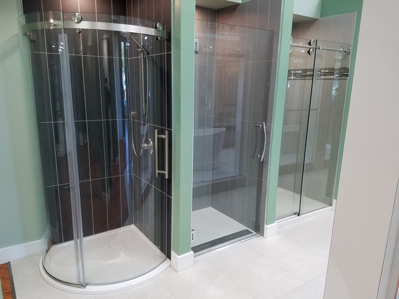 Many different styles of custom shower doors
