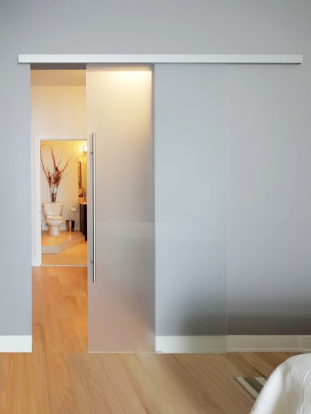 Single barn doors creative mirror shower for Single sliding barn door