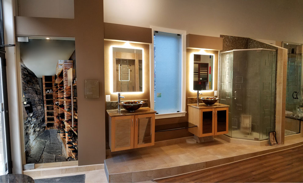 View Our Amazing Displays from the Wine Cellar Architectural Hardware (shown on left) to the Fleurco Luna Lighted Mirrors (shown on right)