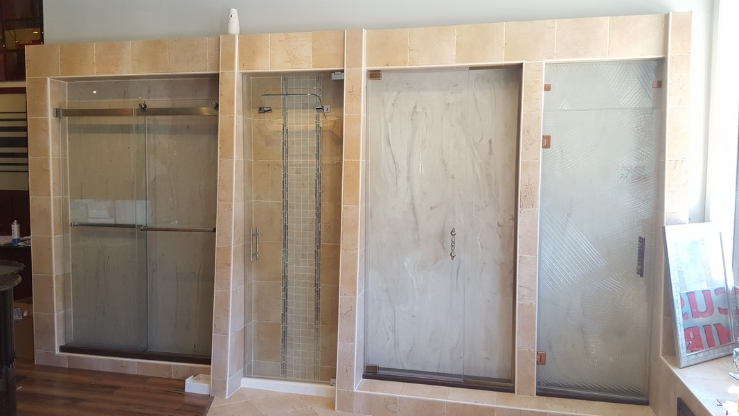 Full Size Shower Door Displays in a Variety of Configurations and Glass Options.