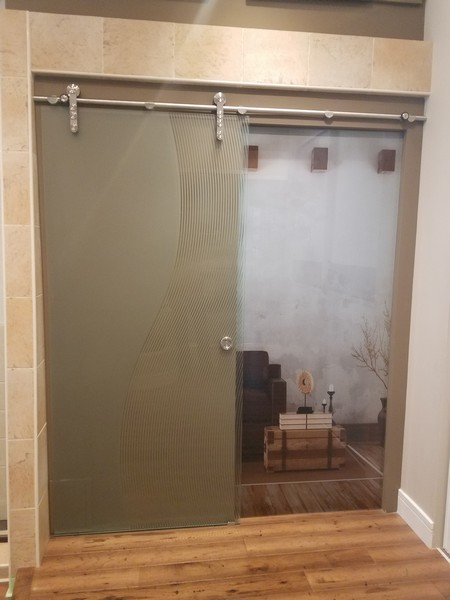 Sliding Barn Doors & Room Dividers, Shown Here with Artistic Etched Glass Design Done by our In-House Art Glass Team