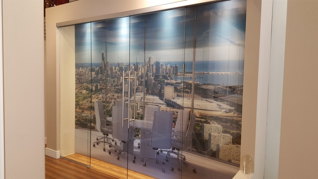 Digital Photo Printed on Glass Behind Sliding Bi-Parting Doors with Synchronized Architectural Hardware System