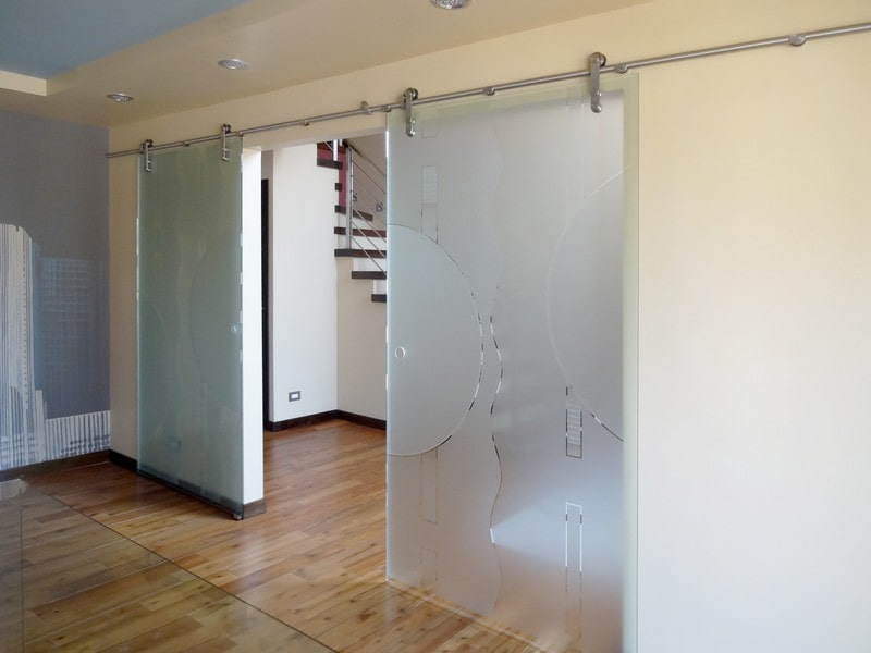 Etched Sliding Glass Doors Dividers Creative Mirror Shower