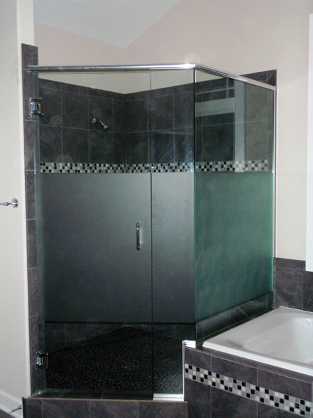 Etched Neo Angle Shower Doors