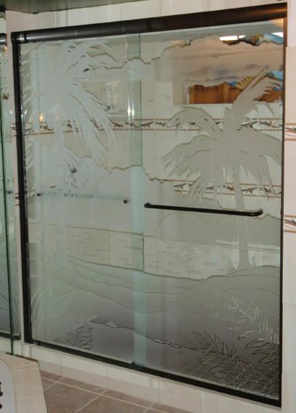 Sliding Etched Amp Sandblasted Shower Doors Creative