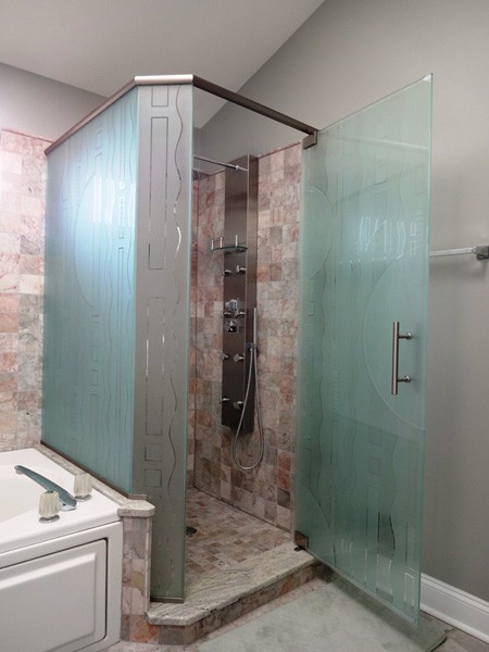 Custom Multi Panel Etched Amp Sandblasted Shower Doors