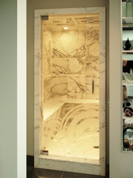 Etched Shower Doors single swing etched & sandblasted shower doors | creative mirror