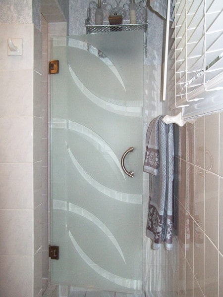 View Larger Image Etched Single Swing Shower Doors