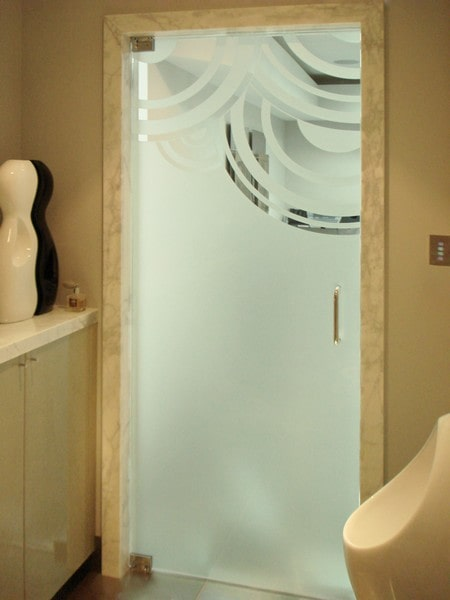 Chicago Glass Etched Frameless Steam Shower Doors and Enclosures