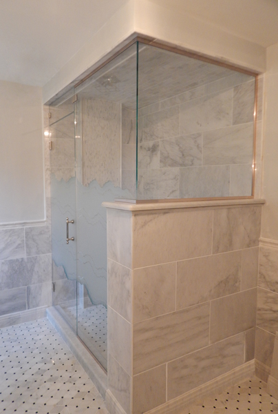 Steam Shower Etched & Sandblasted Shower Doors | Creative Mirror ...