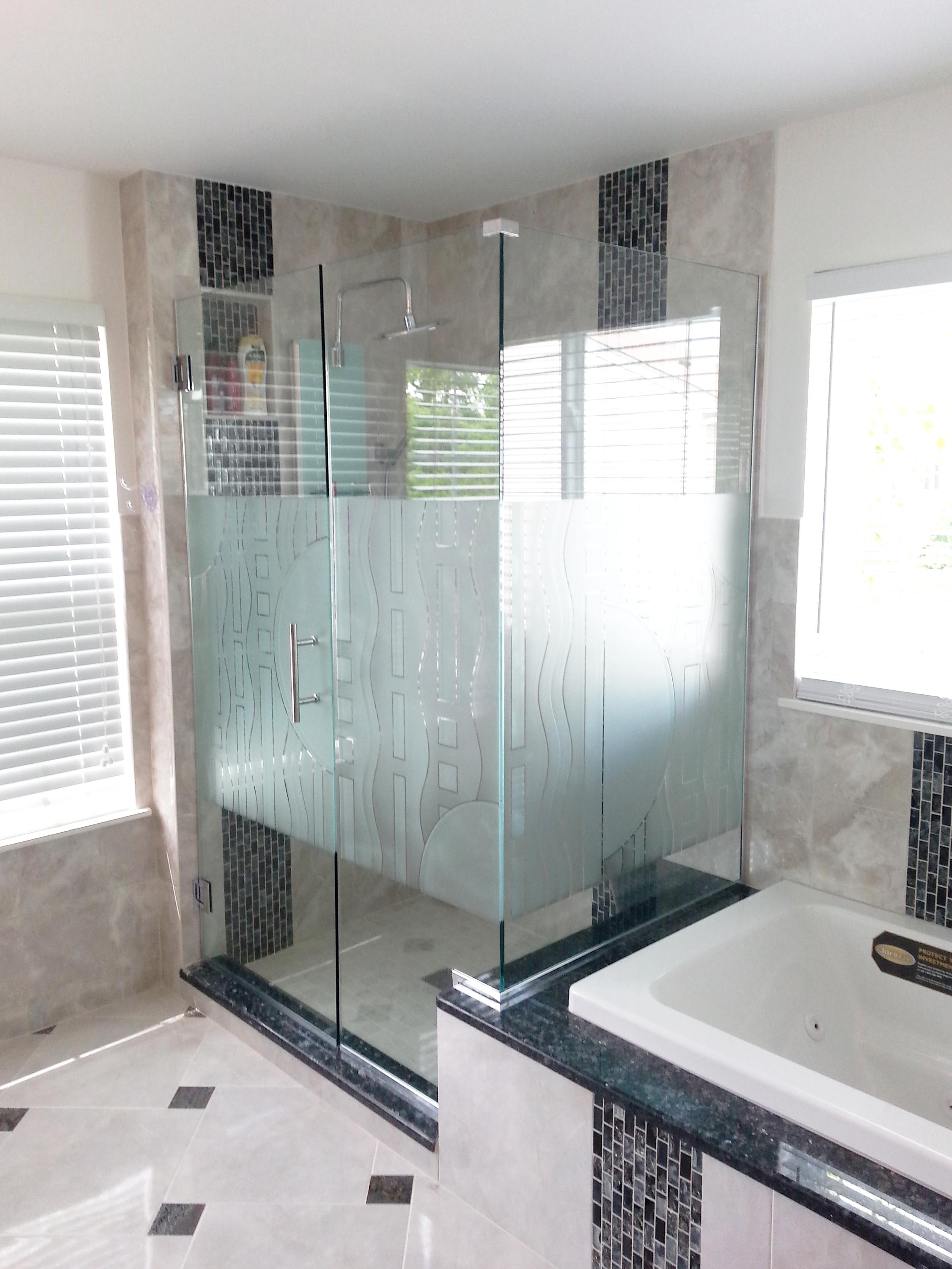 Corner Enclosure Etched Amp Sandblasted Shower Doors