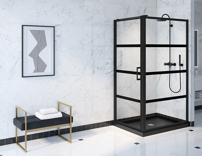 Chicago Glass Fleurco Latitude Grid Design Shower Doors