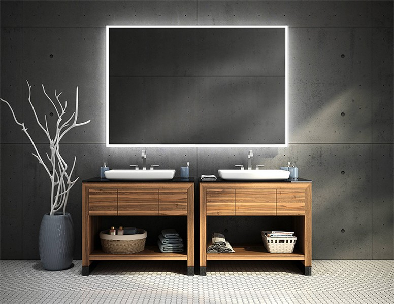 Framed bathroom vanity mirrors - Lighted Mirrors Creative Mirror Amp Shower