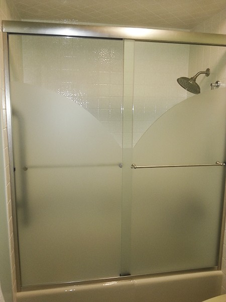 Sliding Etched Amp Sandblasted Shower Doors Creative