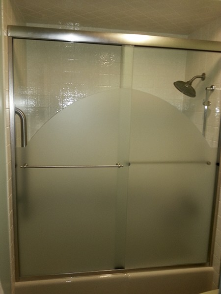 Chicago Glass Etched Sliding Shower Doors