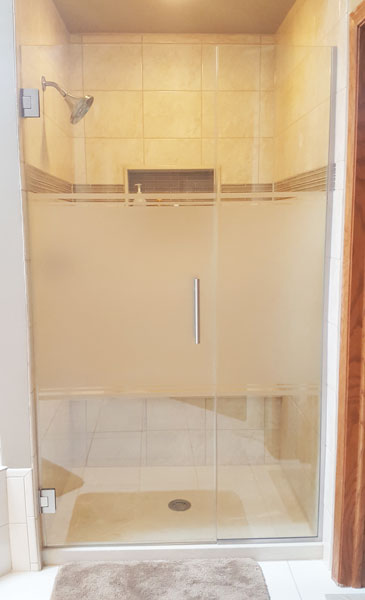 Etched Door and Inline Panel Shower Doors