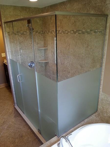 Custom Multi Panel Etched Amp Sandblasted Shower Doors