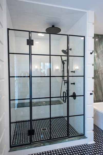Grid Pattern Shower Doors