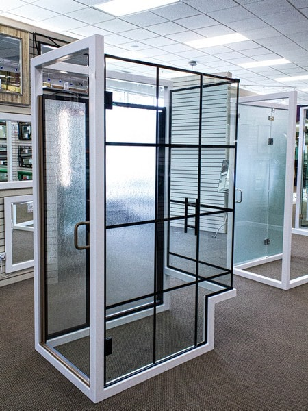 Full size shower door displays in a variety of configurations and glass options