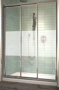Fleurco LOMBARDI Triple Track Shower Door with Etched Privacy Band
