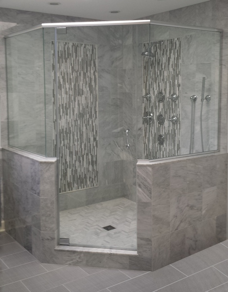 View Larger Image Neo Angle Frameless Shower Door