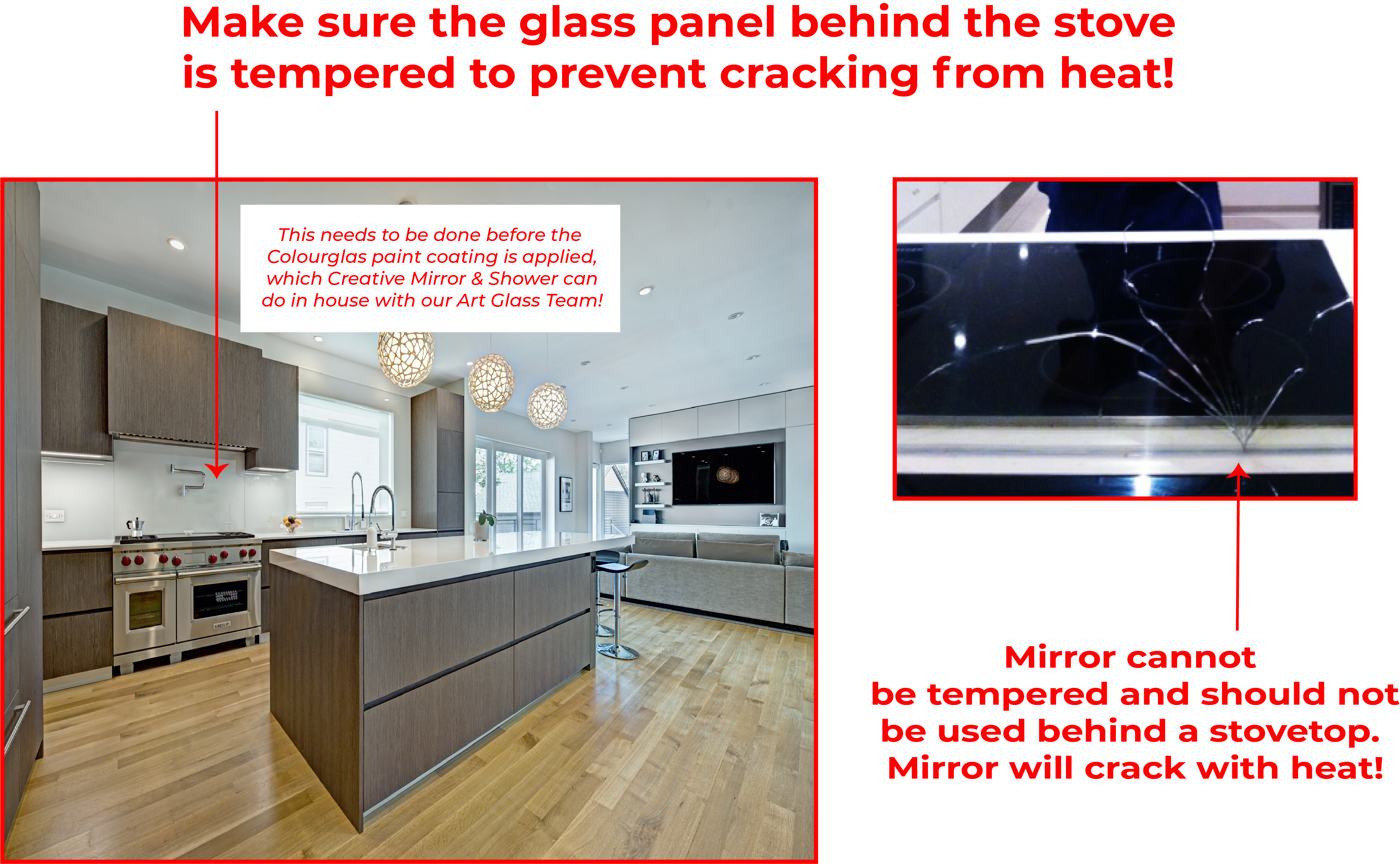 Make Sure Glass Panel Behind Stove Is Tempered To Prevent Cracking From Heat