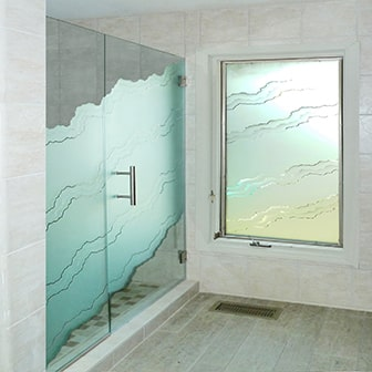 Etched Sandblasted Shower Doors Creative Mirror Shower